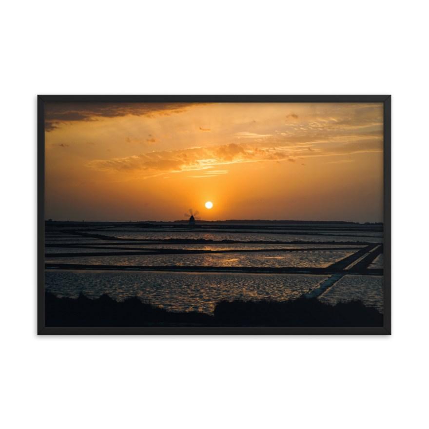 sunset sicily framed